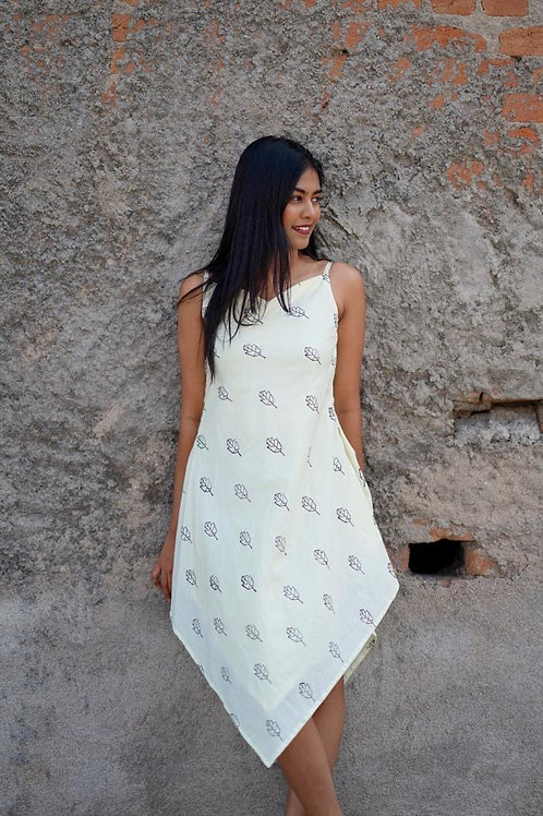White hand blockprint dress