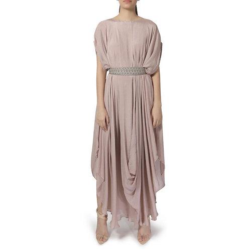 Blush pink drape dress