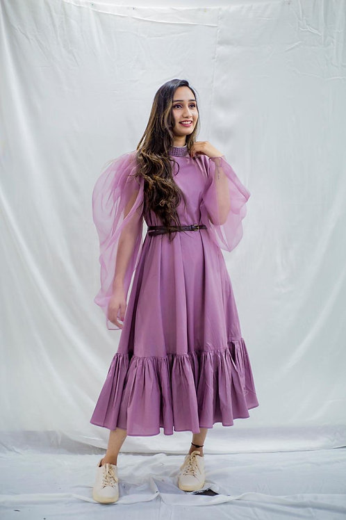 Purple balloon sleeve dress
