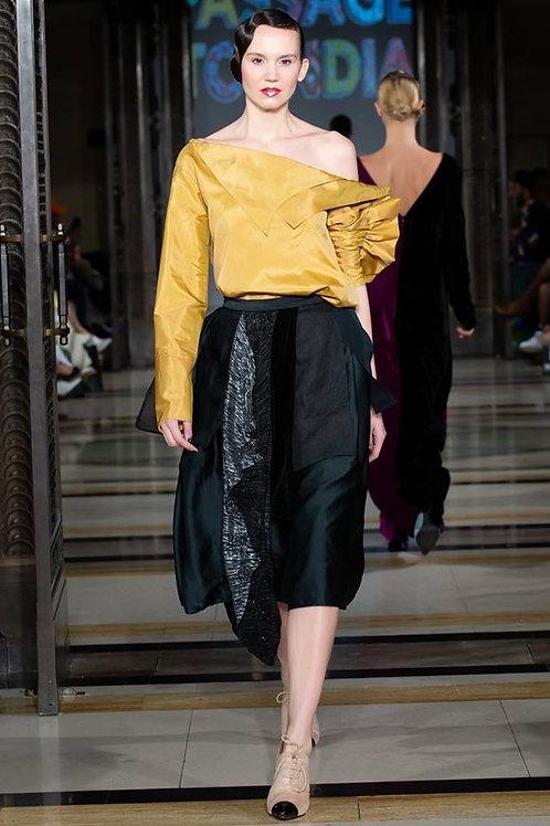 Golden asymmetric blouse