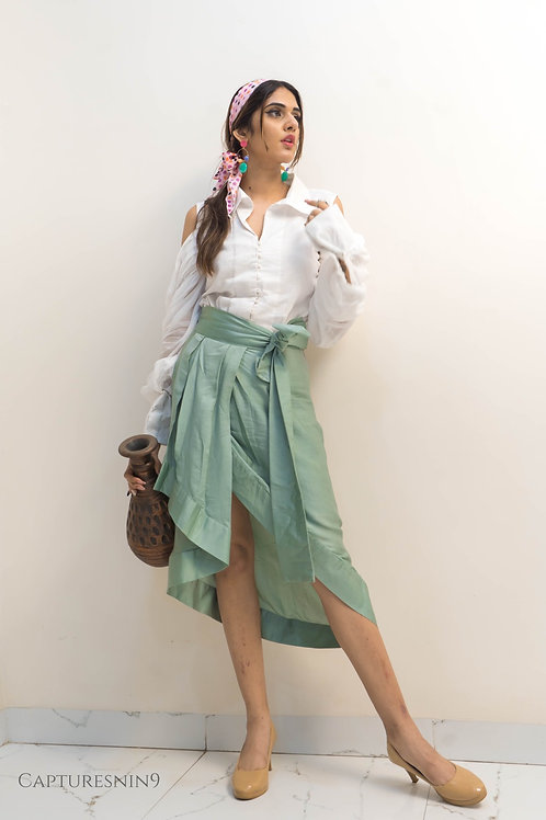 drape skirt with button down cold shoulder shirt