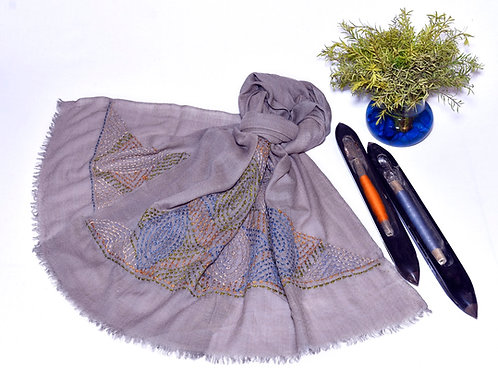 Purple embroidered scarf