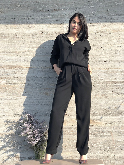 Concealed placket shirt with double dart pants