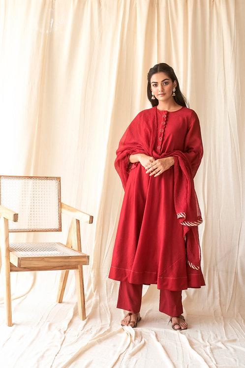 Scarlet red kurta set