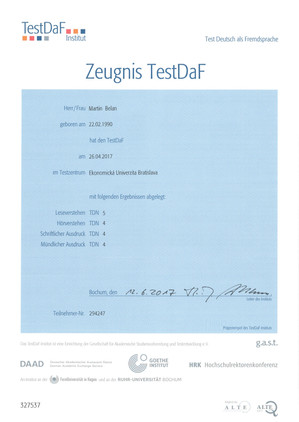 Certificate of the C1 level of German from my student Martin Belan. Martin passed the TestDaF on 26.04.2017 in Bratislava.