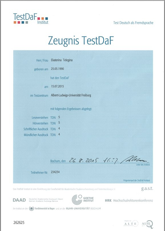 Certificate of the C1 level of German from my student Ekaterina Telegina. Ekaterina passed the TestDaF on 15.07.2015 in Freiburg.
