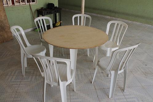 Jogo de mesa redonda com 6 lugares  -
