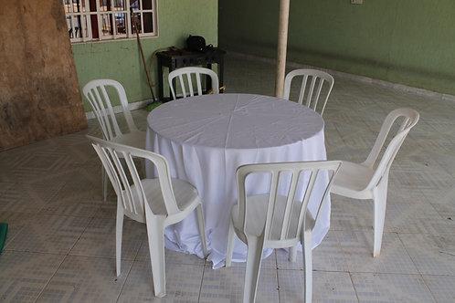 Forro de mesa redonda - 6 lugares