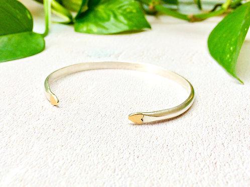 Two Hearts - Silver & Brass cuff