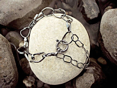 'Stepping Stones' - hand-crafted Silver chain bracelet