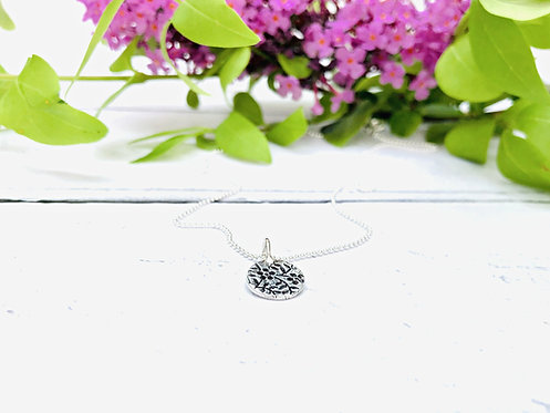 Floral Texture - textured disc necklace