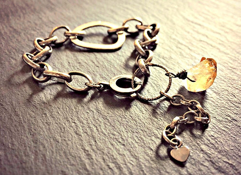 """Citrine & Dream"" - oxidised Silver bracelet"