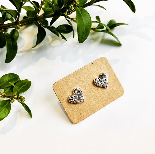 'Leaf' - heart studs with leaf texture