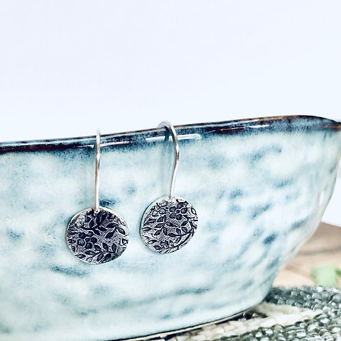 Floral Texture - Silver hook earrings