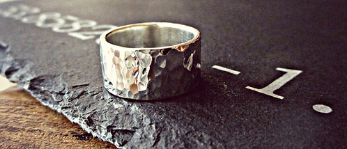 'Hammer-Time!' - chunky Silver hammered ring