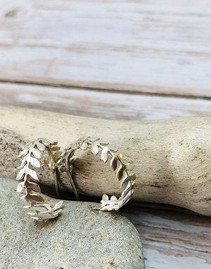 Laurel Leaves - small hoop earrings