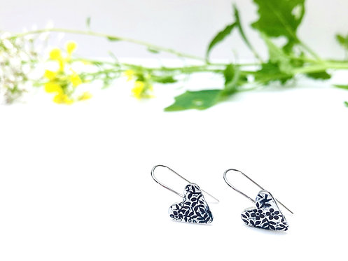Floral Texture - Silver heart earrings
