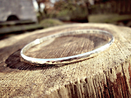 Hammered - personalised Silver bangle