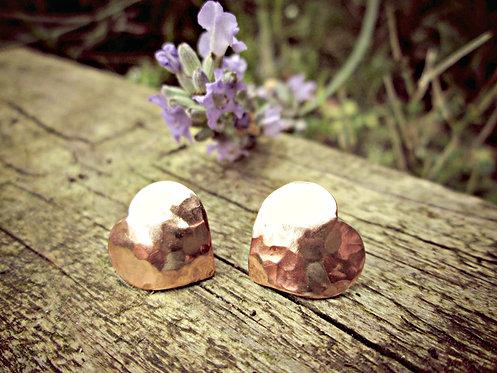 Copper & Silver - hammered heart earrings