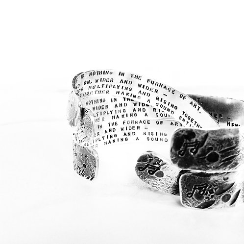 'Beaten Track' - chunky textured Silver cuff