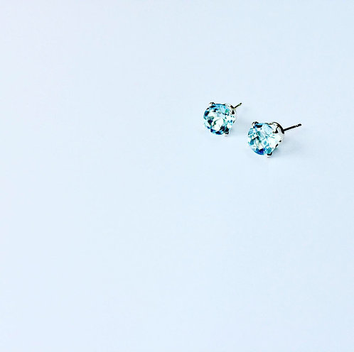 Sky Blue Topaz - gemstone & Silver studs