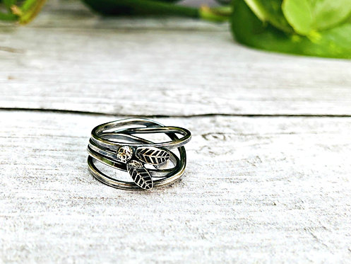 Twisted Vines - beautiful oxidised Silver ring