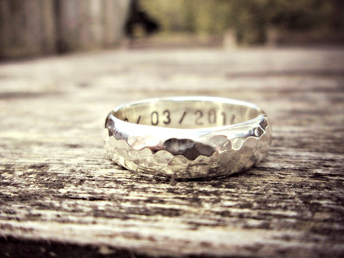 Hammered Chunky - personalised Silver ring