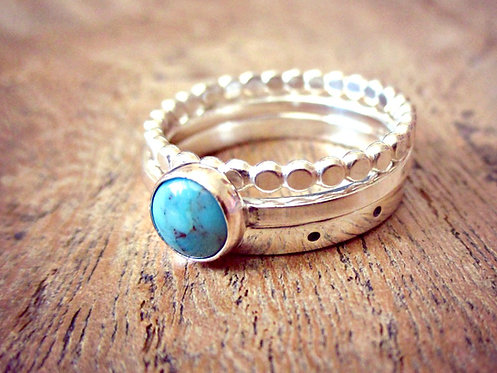 Turquoise & Silver - ring stack