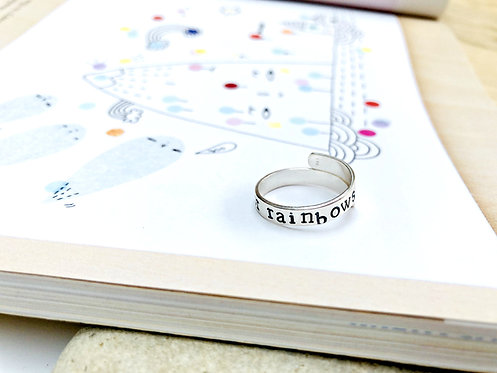 """""""Look for rainbows"""" - Sterling Silver adjustable wrap ring"""