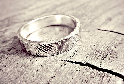 'Beaten Track' - unisex Silver textured ring