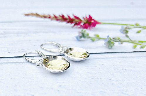 'Sunshine & Sterling' - Silver and Brass earrings