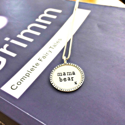 Mama Bear - stamped word necklace