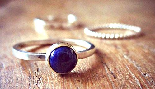 Lapis Lazuli & Silver - gemstone ring stack