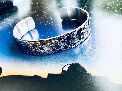 'Moon & Back' - chunky textured Silver cuff