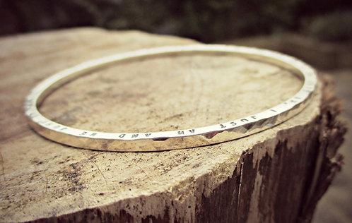 Skinny - personalised Silver bangle