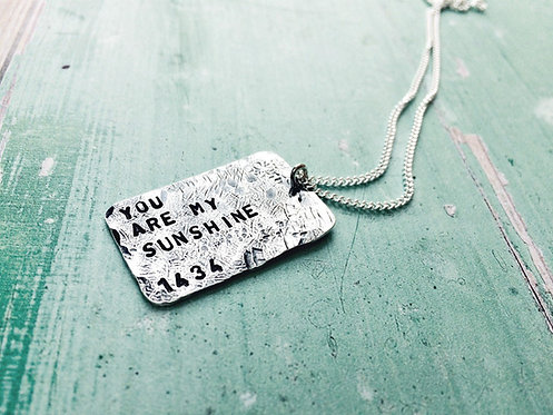 """Beaten Track"" - personalised 'dog tag' necklace"