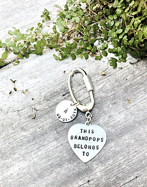 Gift for Grandparents - personalised Silver keyring