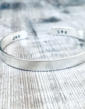 Silvery Moon - stamped cuff