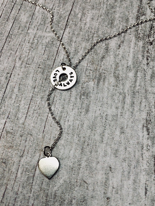 Silver Lariat - word necklace