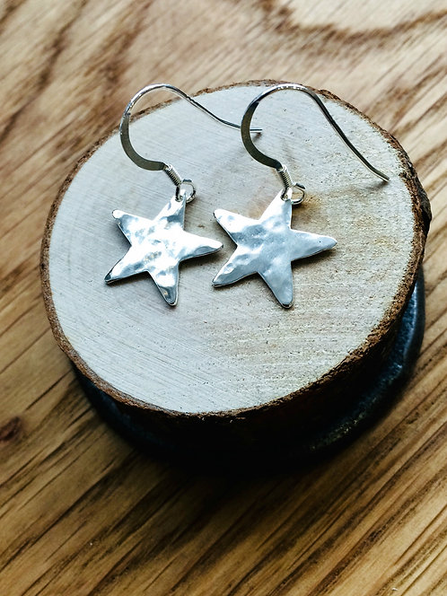 Shine Bright - Sterling Silver hammered star earrings