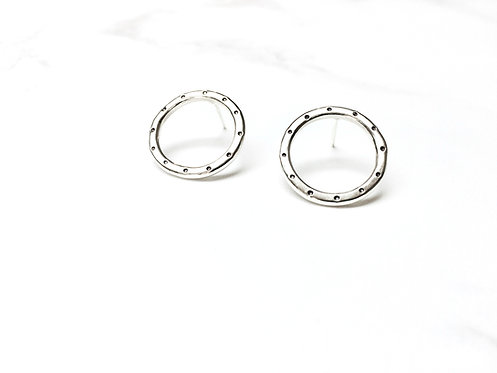 Dotted Round Hoop Studs