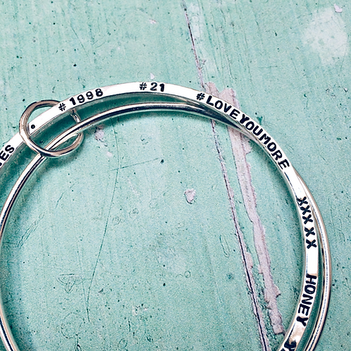 Two Become One - personalised Silver bangle duo
