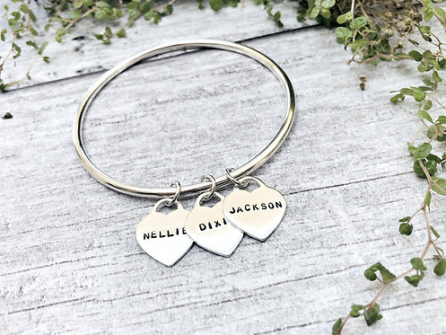 Beat As One - personalised heart charm bangle