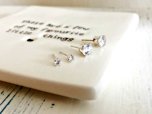 Cubic Zirconia & Silver - small studs
