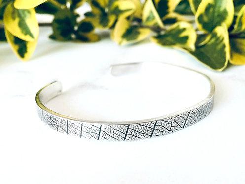 Leaf - handmade textured Silver cuff