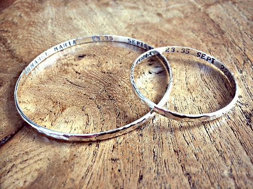 Mother & Baby - hand stamped bangle set