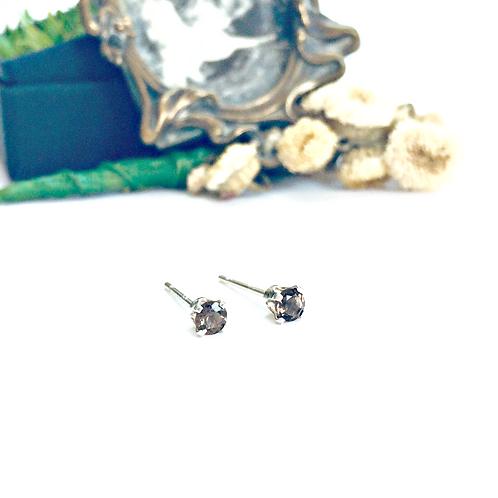 Smoky Quartz & Silver - teeny gemstone studs