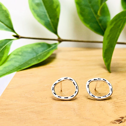 'Stepping Stones' In Stitches - handmade Silver studs