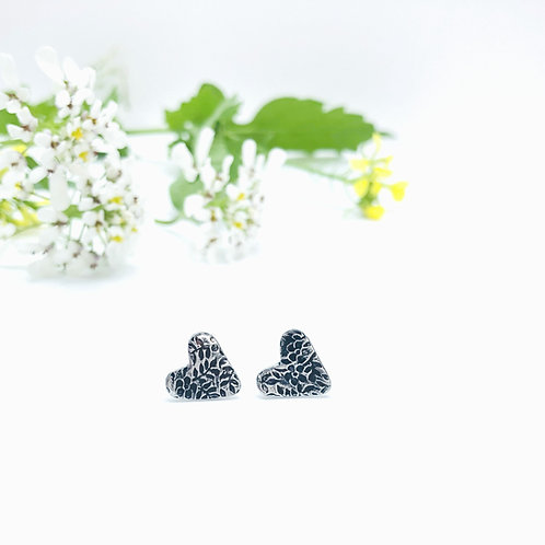 Floral Texture - heart earrings