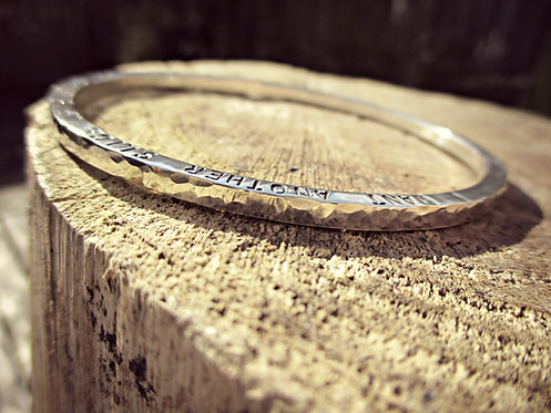 Chunky - personalised Silver bangle